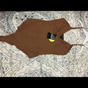 Ribbed cocoa brown bodysuit